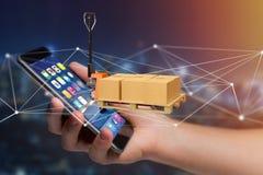 Camion de palette et carboxes avec le système de connexion réseau - 3d au sujet de Image libre de droits