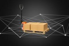 Camion de palette et carboxes avec le système de connexion réseau - 3d au sujet de Images libres de droits