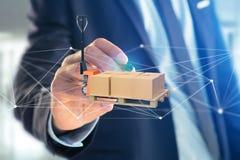 Camion de palette et carboxes avec le système de connexion réseau - 3d au sujet de Photographie stock libre de droits