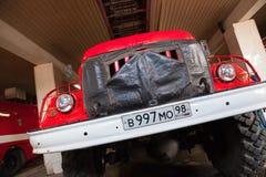 Camion de pompiers AL-30 d'échelle de plaque tournante ZIL-131 Images libres de droits