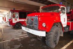 Camion de pompiers AL-30 d'échelle de plaque tournante ZIL 131 Image libre de droits