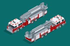 Camion de pompiers d'isolement Suppression des incendies et aide aux victimes Icône de haute qualité isométrique plate de transpo Photo stock