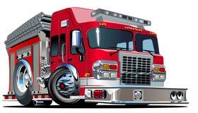 Camion de pompiers de bande dessinée de vecteur illustration stock