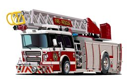 Camion de pompiers de bande dessinée de vecteur Photos libres de droits