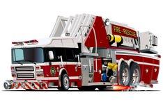 Camion de pompiers de bande dessinée de vecteur Images libres de droits