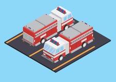 Camion de pompiers isométrique Photos libres de droits