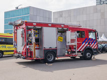 Camion de pompiers néerlandais dans l'action Image libre de droits