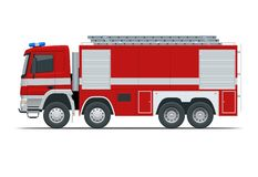 Camion de pompiers rouge, véhicule de l'urgence Les sapeurs-pompiers conçoivent l'élément Illustration de vecteur de vue de côté  illustration stock
