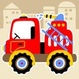 Camion de pompiers sur la précipitation Images libres de droits