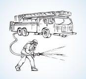 Camion de pompiers sur la précipitation Retrait de vecteur illustration stock