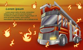 Camion de pompiers sur le fond orange illustration de vecteur