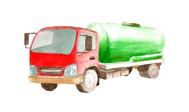 Camion de réservoir de réservoir d'aquarelle avec un cylindre vert et une cabine rouge d'isolement sur le fond blanc illustration libre de droits