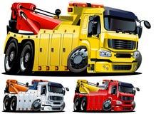 Camion de remorquage de dessin animé de vecteur. Un-cliquetez peignent Photos stock