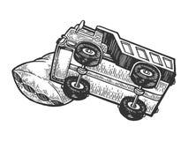 Camion de camion de sommeil sur le vecteur de gravure d'oreiller illustration libre de droits