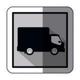 camion de transport de silhouette d'autocollant avec le chariot et les roues Images libres de droits