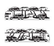 Camion de transporteur de voiture dans la perspective illustration stock