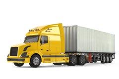 Camion de véhicule de livraison de cargaison avec la remorque en aluminium Photos libres de droits