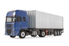 Camion de véhicule de livraison de cargaison avec la remorque en aluminium Images stock