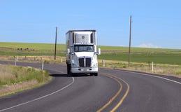 Camion dei semi con il rimorchio che guida sulla strada principale Fotografie Stock Libere da Diritti