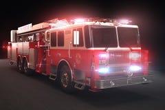Camion dei vigili del fuoco con gli indicatori luminosi Fotografia Stock