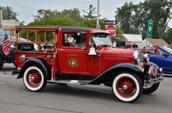 Camion dei vigili del fuoco d'annata su Woodward Immagine Stock