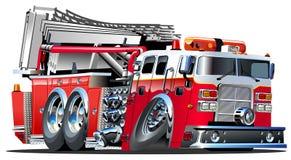 Camion dei vigili del fuoco del fumetto di vettore Immagine Stock