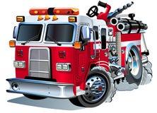 Camion dei vigili del fuoco del fumetto di vettore Immagini Stock Libere da Diritti