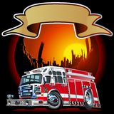 Camion dei vigili del fuoco del fumetto di vettore Fotografia Stock Libera da Diritti