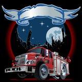 Camion dei vigili del fuoco del fumetto di vettore Fotografie Stock