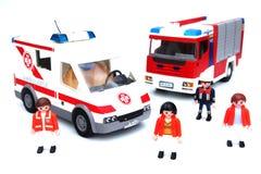 Camion dei vigili del fuoco dell'ambulanza Fotografie Stock