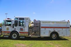 Camion dei vigili del fuoco della società 4 del tubo flessibile del patriota del porto franco in Long Island Fotografie Stock