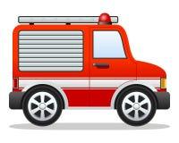 Camion dei vigili del fuoco di colore rosso del fumetto Immagini Stock