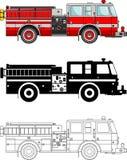 Camion dei vigili del fuoco gentili differenti su fondo bianco nello stile piano: siluetta colorata e nera e contorno Vettore Immagine Stock Libera da Diritti