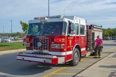 Camion dei vigili del fuoco nel reparto del fuoco in Merrimack, NH, U.S.A. fotografia stock