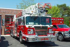 Camion dei vigili del fuoco nel reparto in Millis, mA, U.S.A. del fuoco fotografia stock