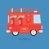 Camion dei vigili del fuoco piano normale dell'icona di colore di vettore Veicolo di assistenza di emergenza Stile del fumetto fi Fotografia Stock