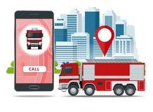 Camion dei vigili del fuoco rosso, veicolo dell'emergenza Emergenza di chiamata I pompieri progettano l'elemento Illustrazione di royalty illustrazione gratis
