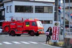 Camion dei vigili del fuoco su azione immagine stock libera da diritti