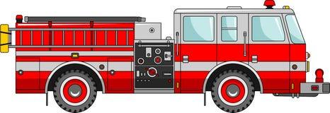 Camion dei vigili del fuoco su un fondo bianco in uno stile piano Fotografia Stock Libera da Diritti
