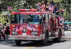 Camion dei vigili del fuoco sulla parata Immagini Stock