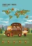 Camion del caffè della via nella mappa di mondo Fotografia Stock Libera da Diritti