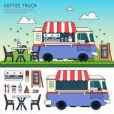 Camion del caffè sulla via Fotografie Stock Libere da Diritti