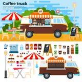 Camion del caffè sulla via nella città Immagini Stock