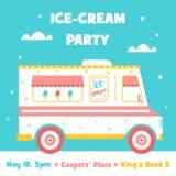 Camion del gelato Invito del partito Fotografia Stock Libera da Diritti