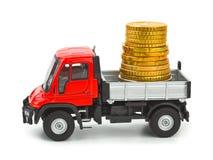 Camion del giocattolo con soldi Immagine Stock Libera da Diritti