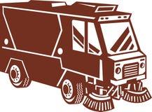 Camion del pulitore della spazzatrice di via Fotografie Stock