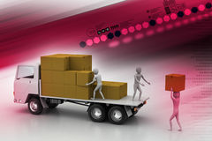 Camion del trasporto nella consegna del trasporto Fotografie Stock