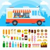 Camion dell'alimento con gli spuntini e la confetteria Fotografie Stock Libere da Diritti