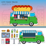 Camion dell'alimento con l'hot dog sulla via Fotografie Stock