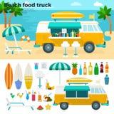 Camion dell'alimento della spiaggia con le bevande fredde Fotografie Stock